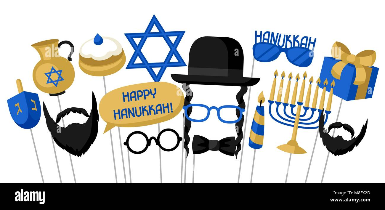 Happy Hanukkah photo booth props. Accessories for festival and party - Stock Vector