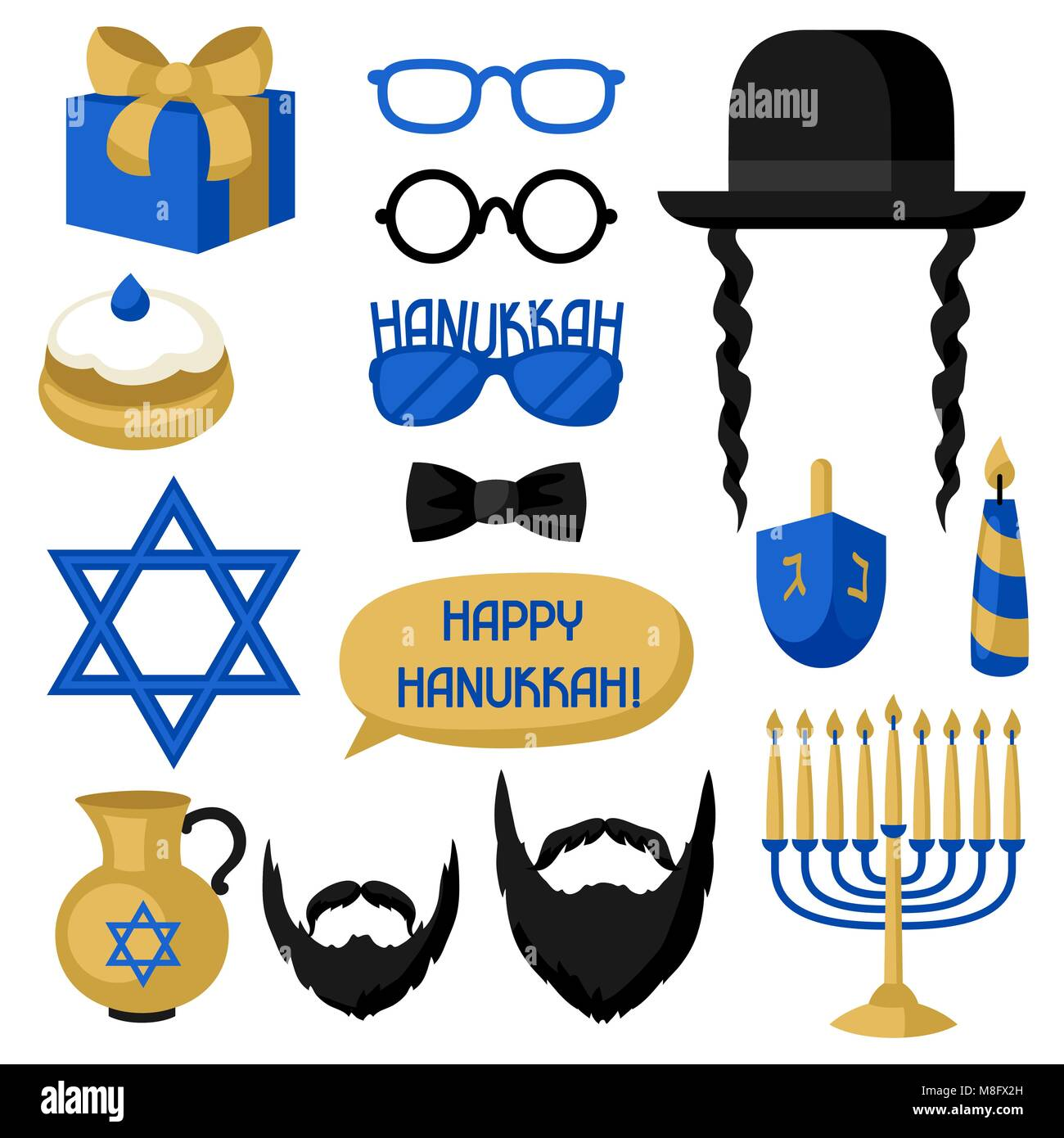 Happy Hanukkah photo booth stickers. Accessories for festival and party - Stock Vector