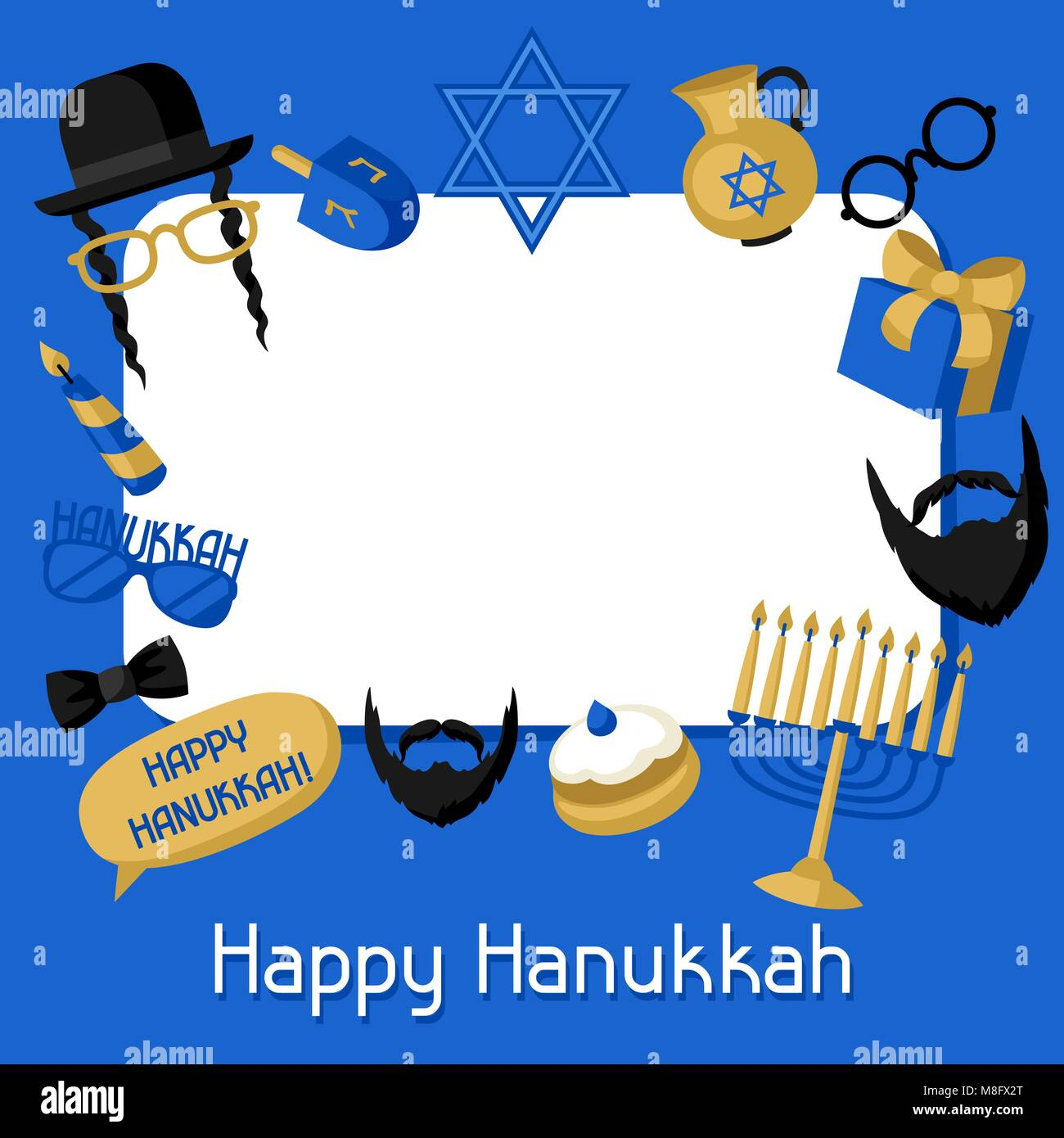 Happy Hanukkah frame with photo booth stickers. Accessories for festival and party - Stock Vector