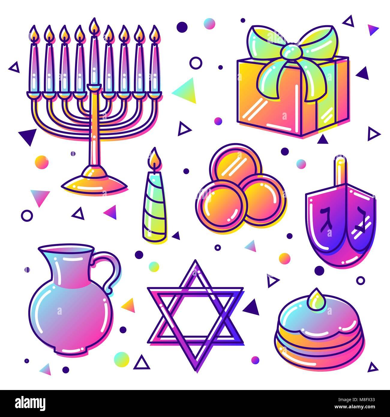 Set of Happy Hanukkah celebration objects and icons - Stock Image