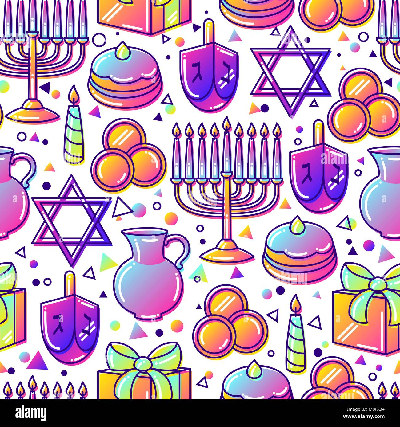 Happy Hanukkah celebration seamless pattern with holiday objects - Stock Vector