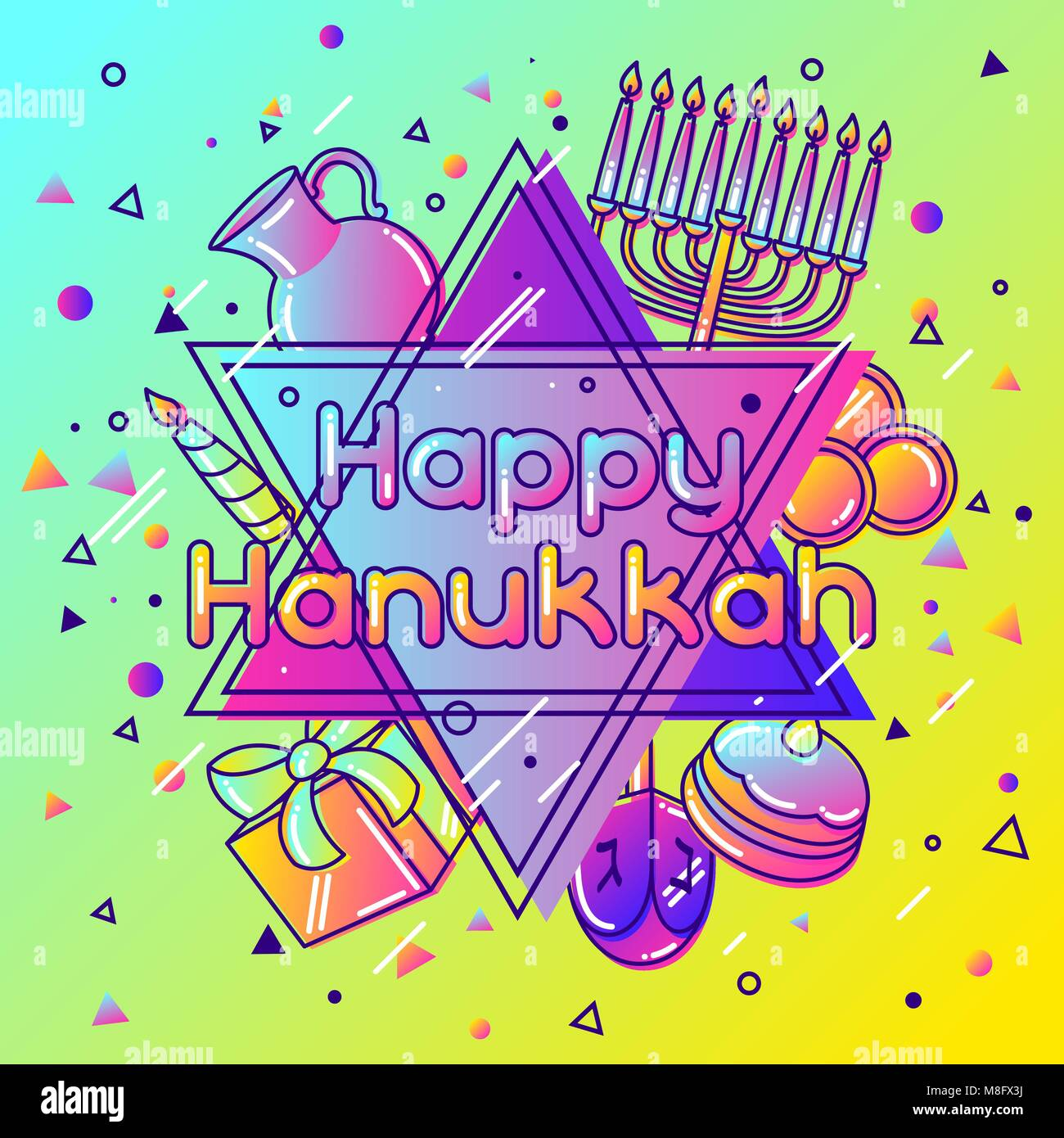 Happy Hanukkah greeting card with holiday objects - Stock Vector