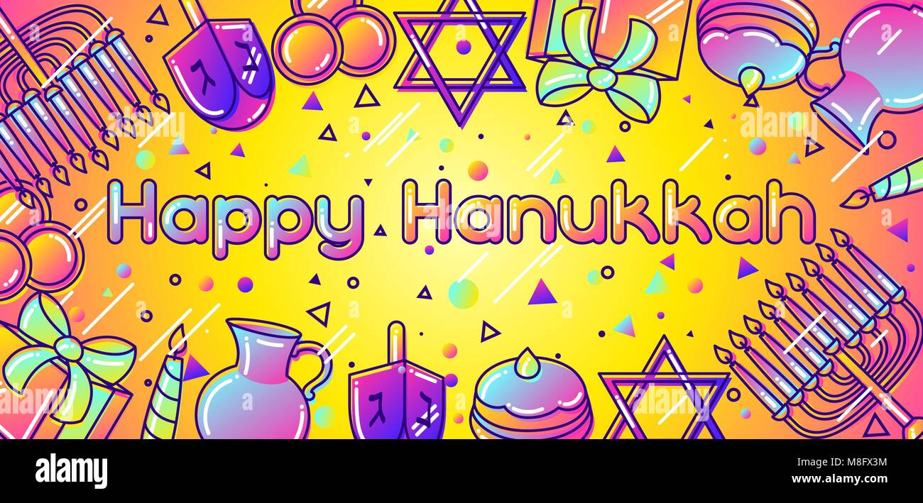 Happy Hanukkah celebration banner with holiday objects - Stock Vector