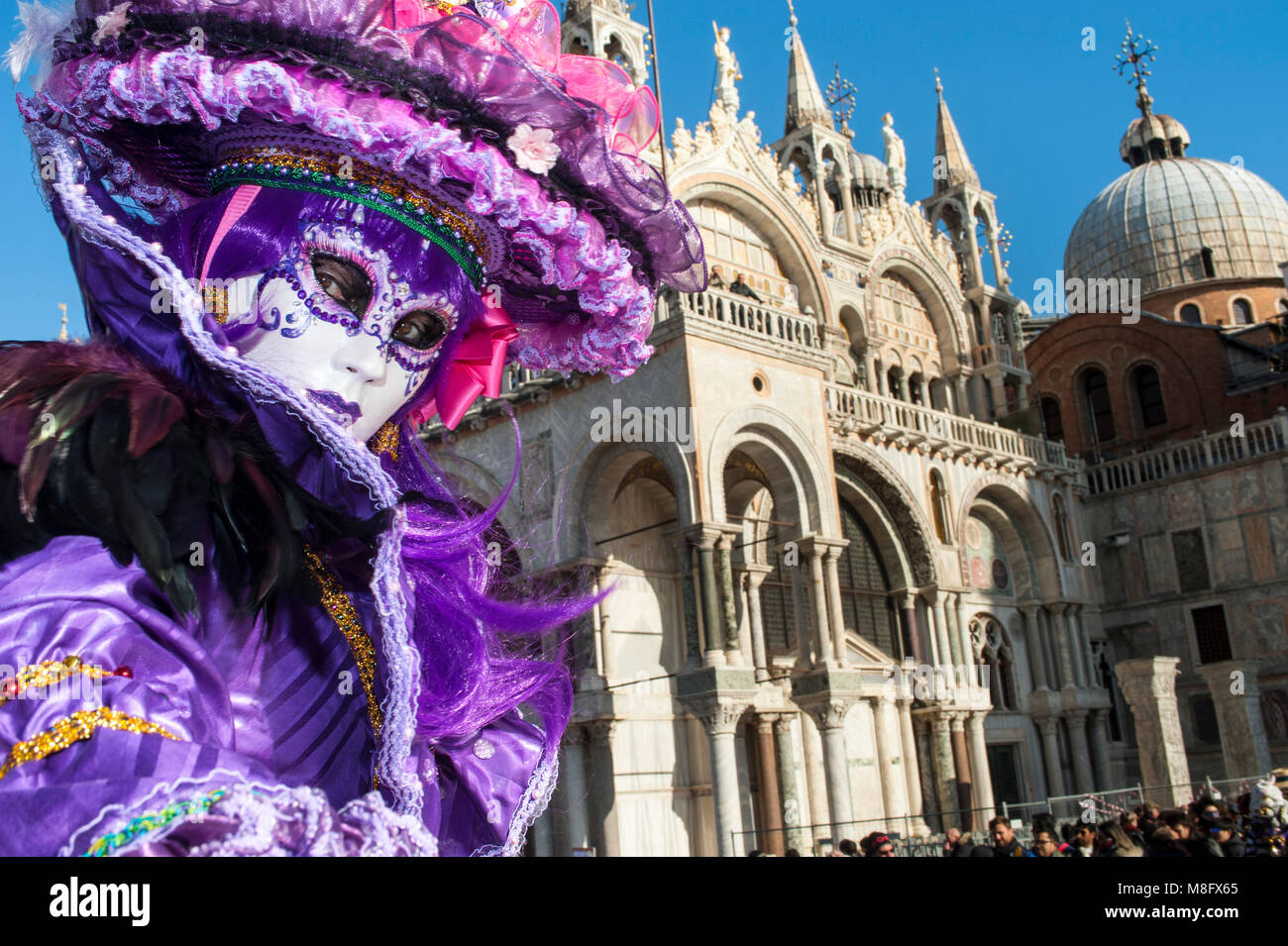 Venice, Italy - February 6 2018 - The Masks of carnival 2018. The Carnival of Venice (Italian: Carnevale di Venezia) Stock Photo