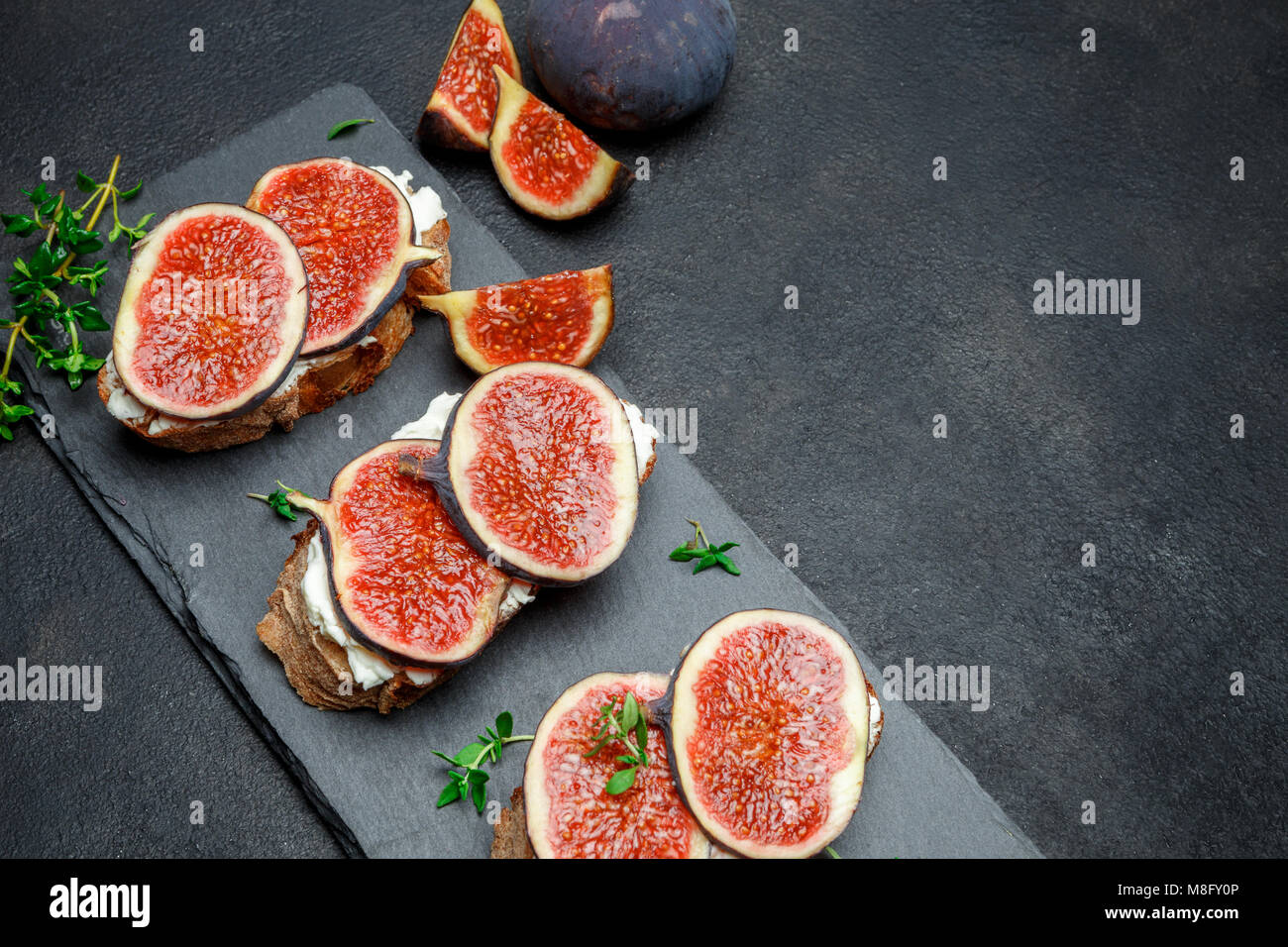 Bruschetta with blue cheese and fresh figs Stock Photo