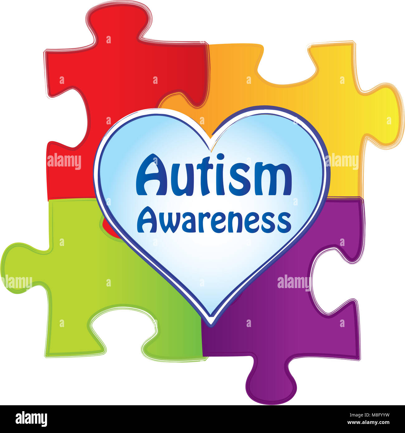 Autism Awareness Puzzle Pieces with Heart - Stock Image