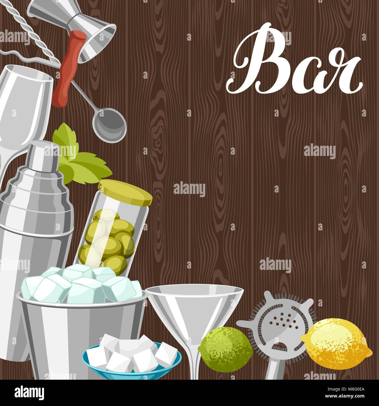 Cocktail bar background. Essential tools, glassware, mixers and garnishes. Stock Vector