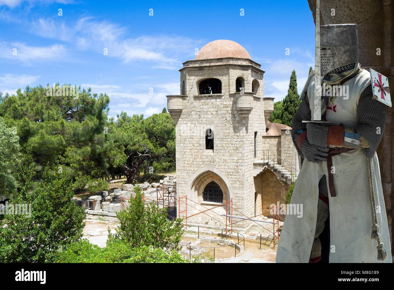 Medieval knight in Filerimos Monastery built by the Knights of Saint John, Rhodes Island, Greece - Stock Image