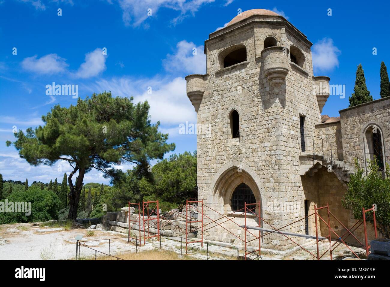Filerimos Monastery in Rhodes Island built by the Knights of Saint John, Greece - Stock Image