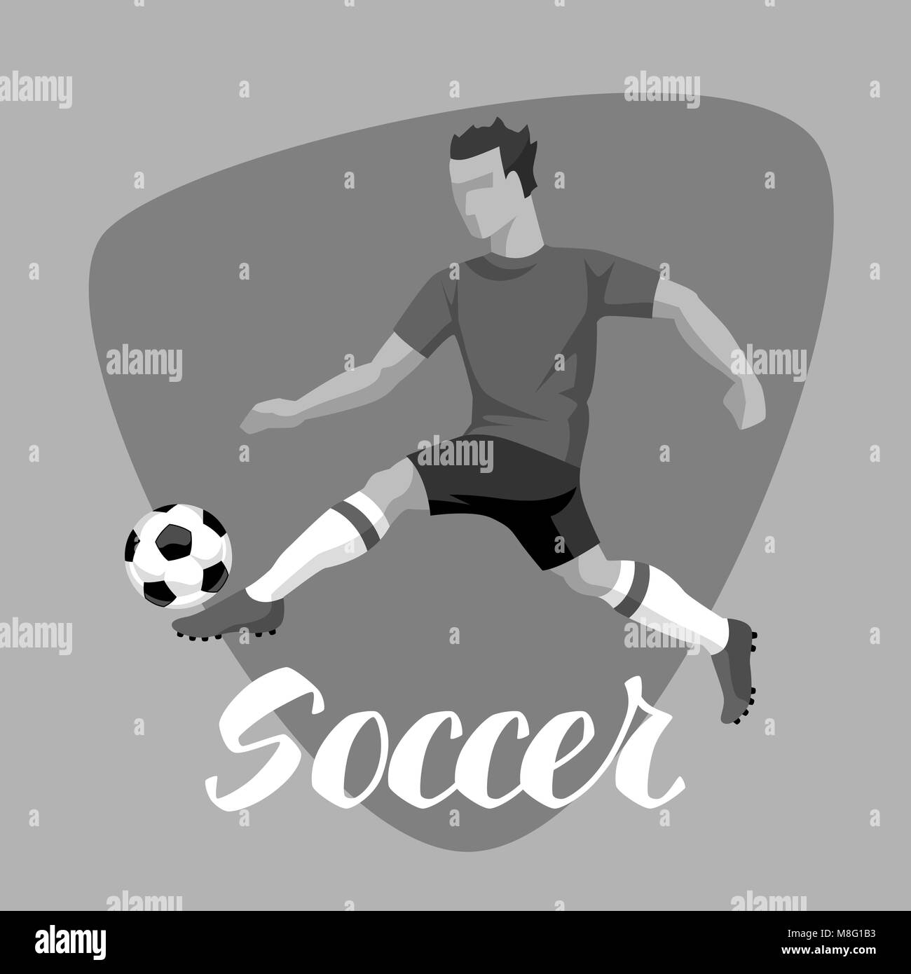Soccer player with ball. Sports football illustration - Stock Image