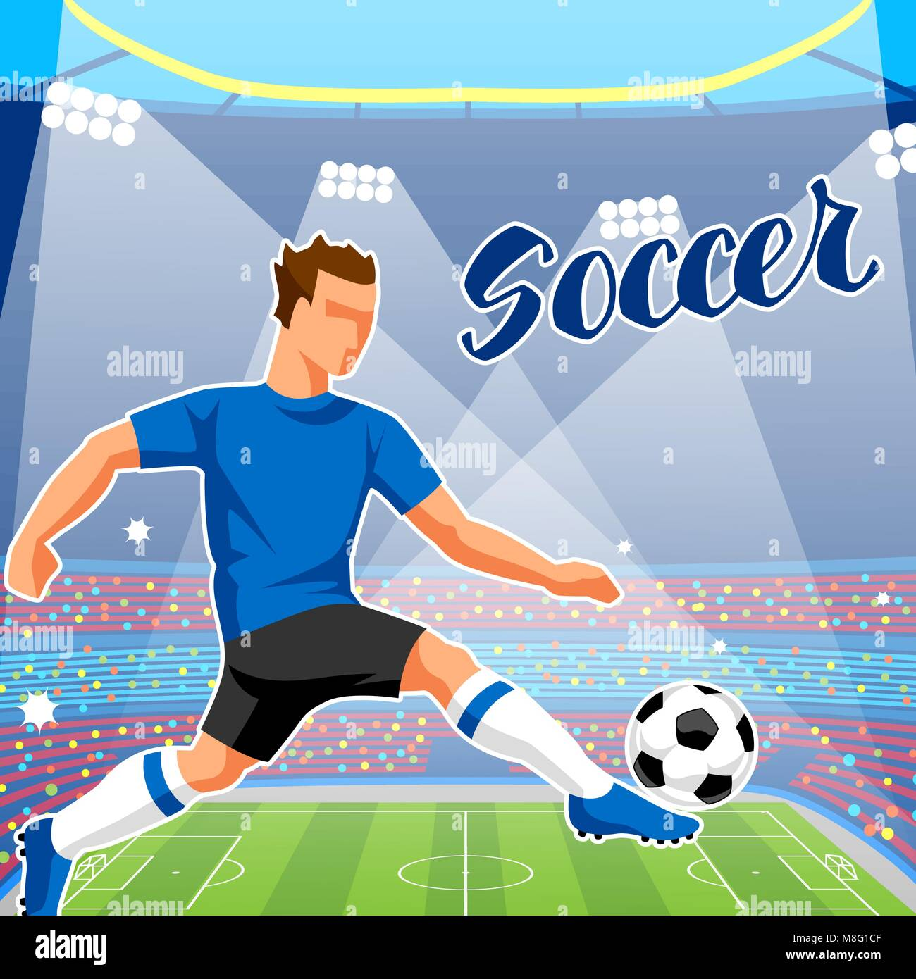 Soccer stadium during sports match. Football arena field - Stock Vector