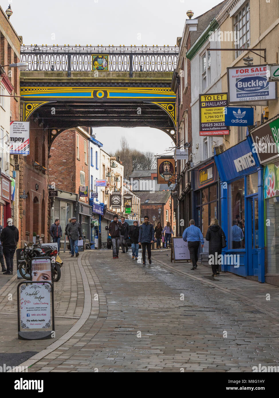 St Petersgate Bridge, Stockport Town Centre Shopping area, Greater Manchester, UK - Stock Image