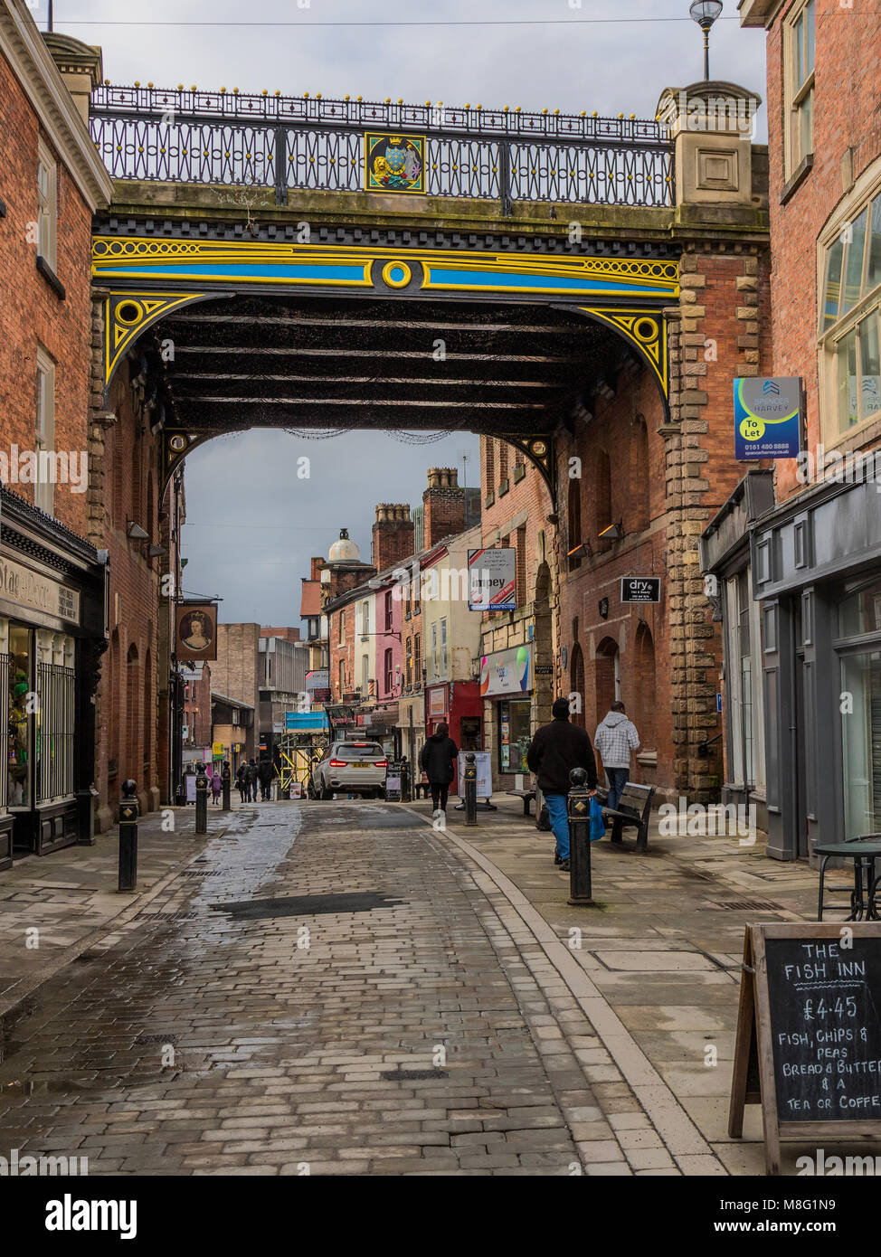 St Petersgate Bridge, Stockport Town Centre, Greater Manchester, UK - Stock Image