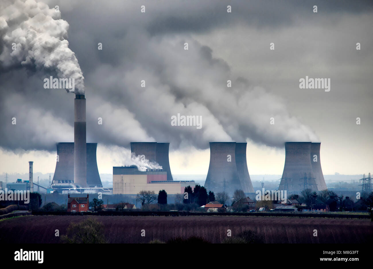 In the Shadow of Cottam Power Station, Nottinghamshire, England - Stock Image