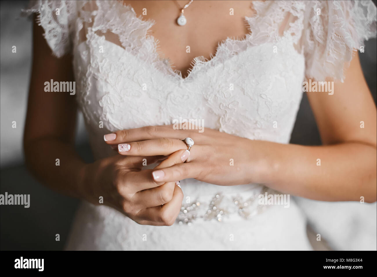 Beautiful Female Hands With Ring And Elegant Manicure Wedding