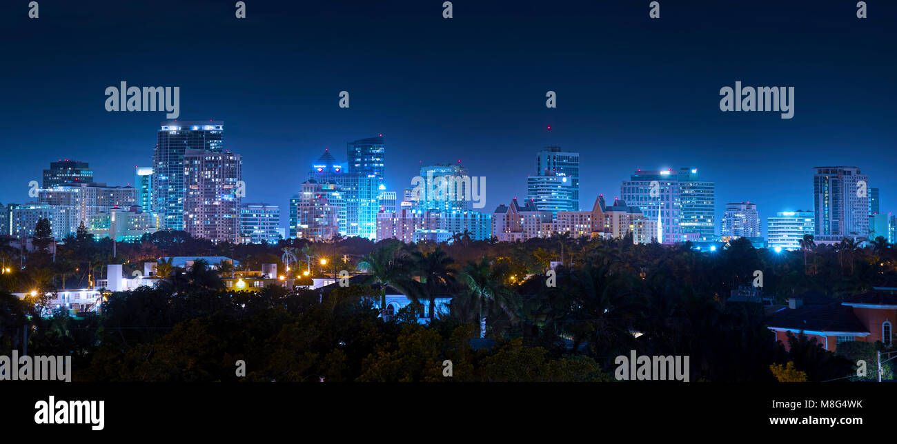 The ever growing skyline of Downtown Fort Lauderdale sparkles on a beautiful winter evening. - Stock Image