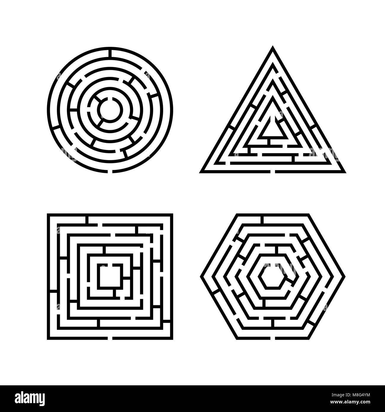 Set of Labyrinth Different Shapes for Game. Maze square, round, hexagon and triangle puzzle riddle logic game concept. Stock Vector