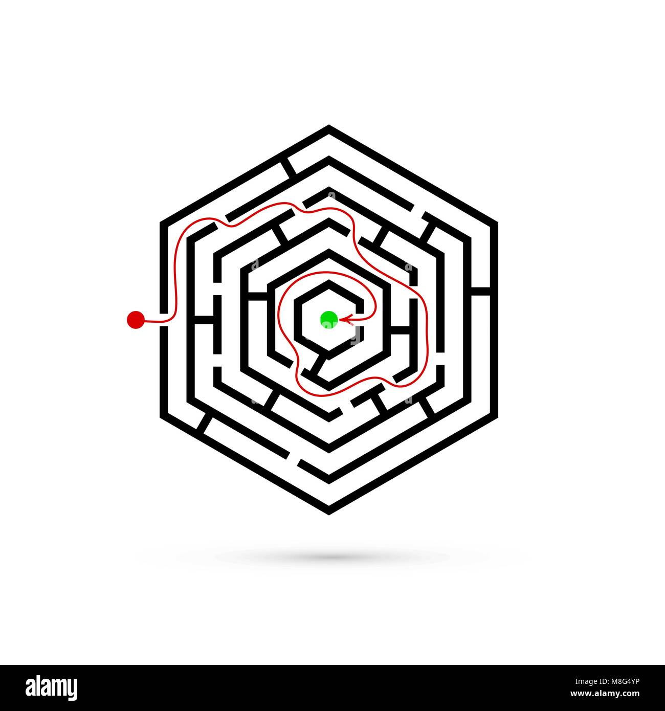 Hexagon maze with way to center. Problem, Business confusion and solution concept. Flat design. Vector illustration Stock Vector