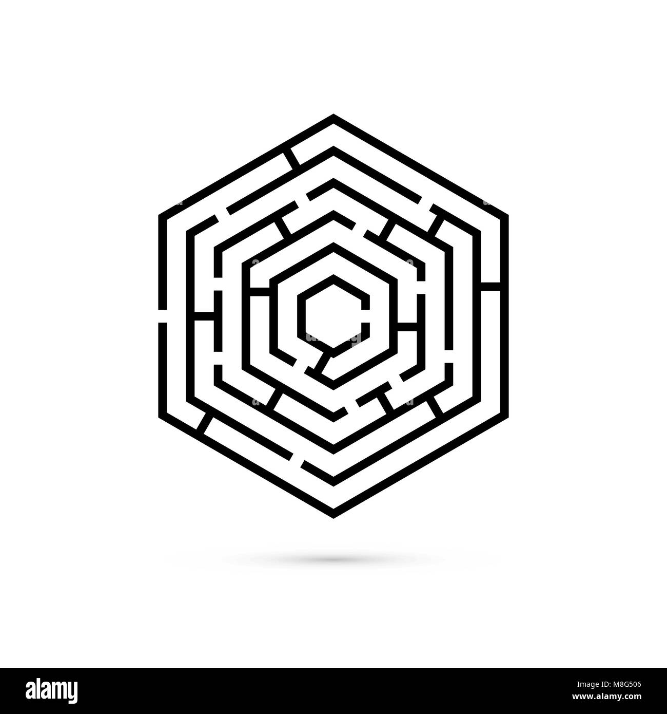 Hexagon maze. Business confusion and solution concept. Flat design. Vector illustration on white background Stock Vector