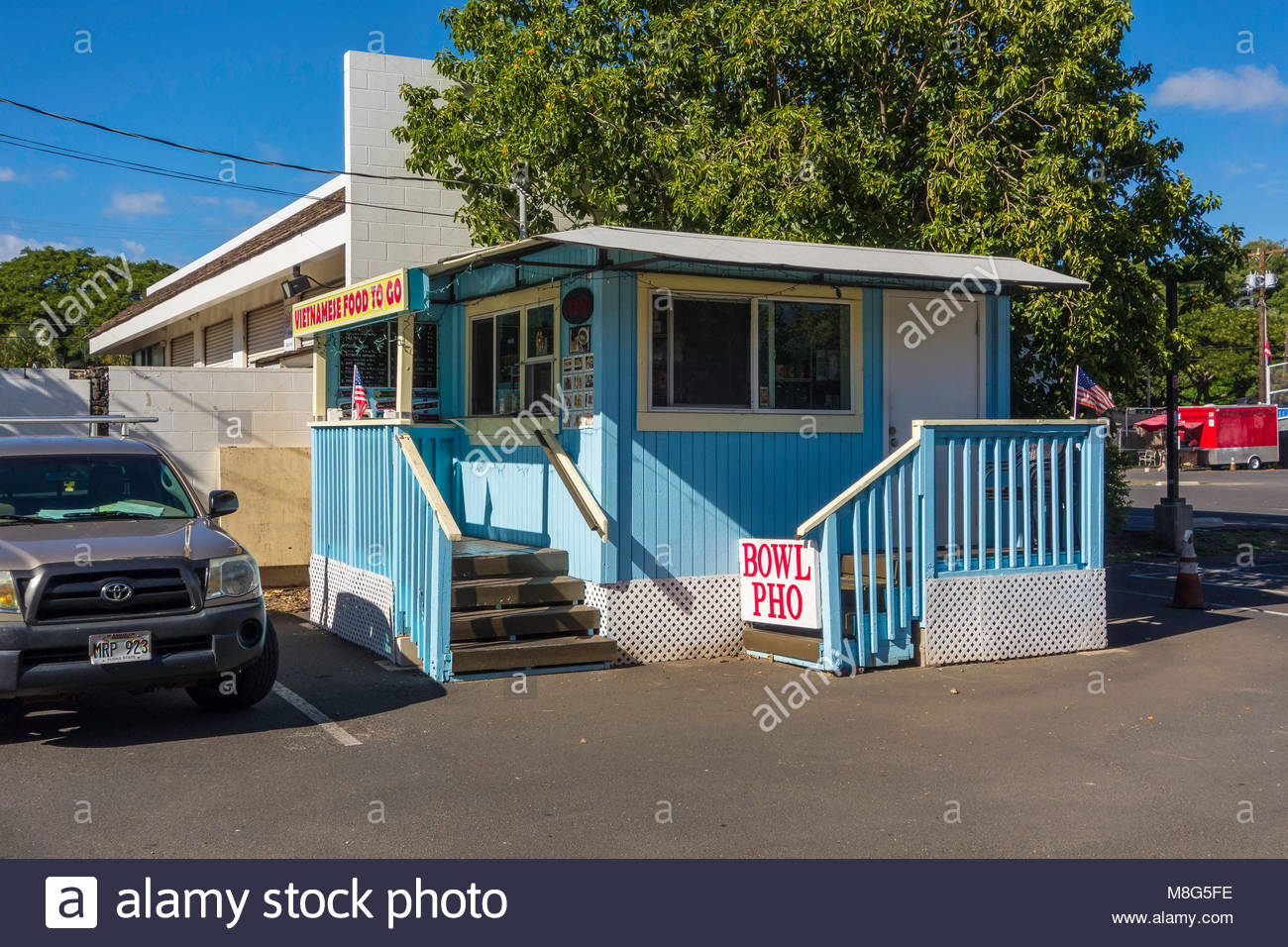 Vietnamese restaurant with food to go in Kihei on island of Maui in the state of Hawaii USA - Stock Image