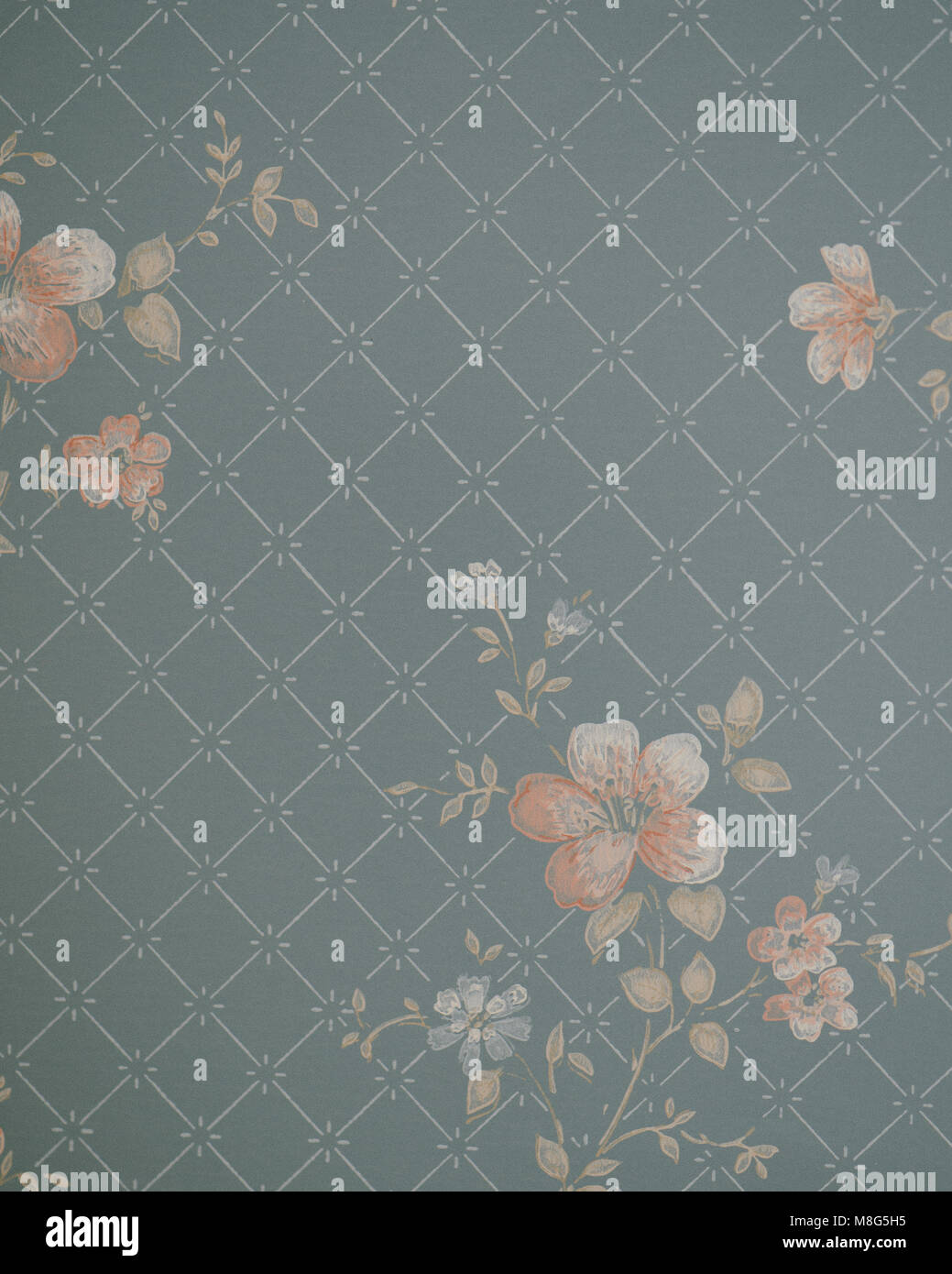 1940 S Vintage Wallpaper With Floral Pattern Stock Photo