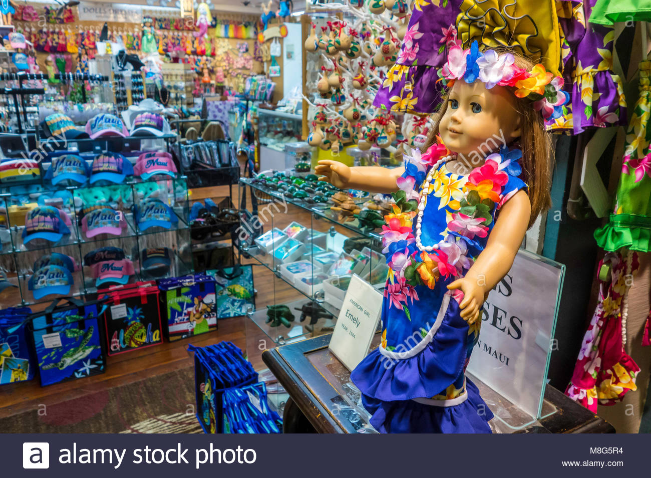 Kitsch Hawaiian souvenirs in store on Front Street at Lahaina on the island of Maui in the state of Hawaii USA - Stock Image