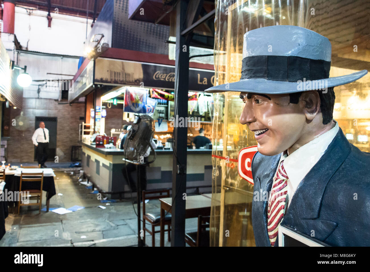 Montevideo, Uruguay - February 25th, 2018:  A live size figure of Carlos Gardel, a famous tango singer from Argentina - Stock Image