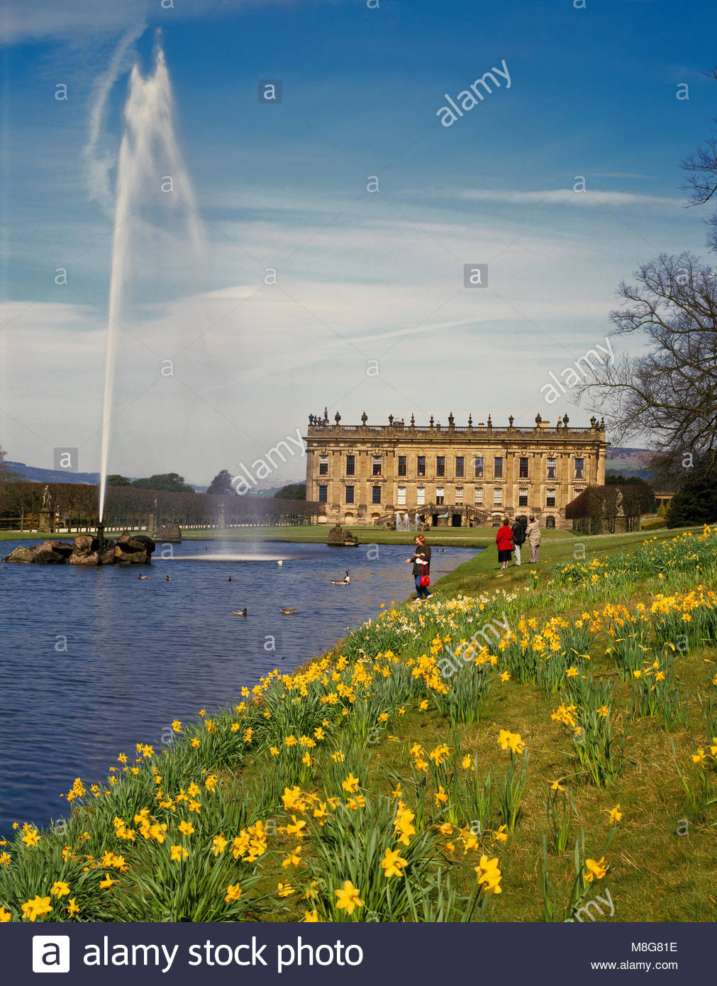 Chatsworth House and the Emperor fountain, Bakewell Derbyshire England UK - Stock Image