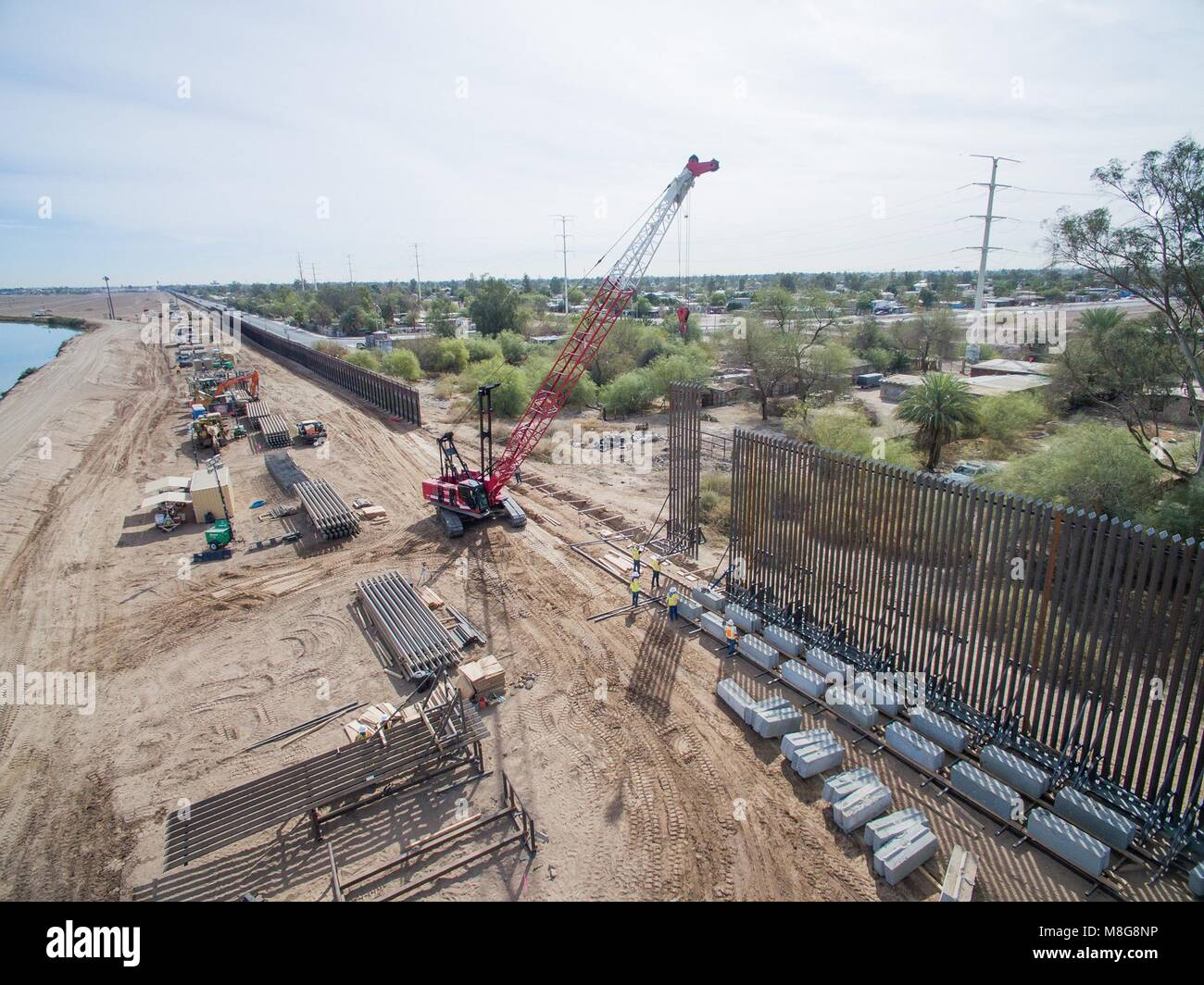 The El Centro sector of the border wall with Mexico is replaced as part of a scheduled renovation March 13, 2018 - Stock Image