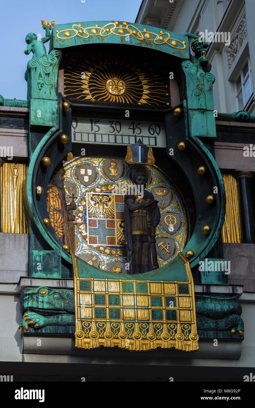 The Anchor Clock (Ankeruhr) with historical figures in Vienna Stock Photo