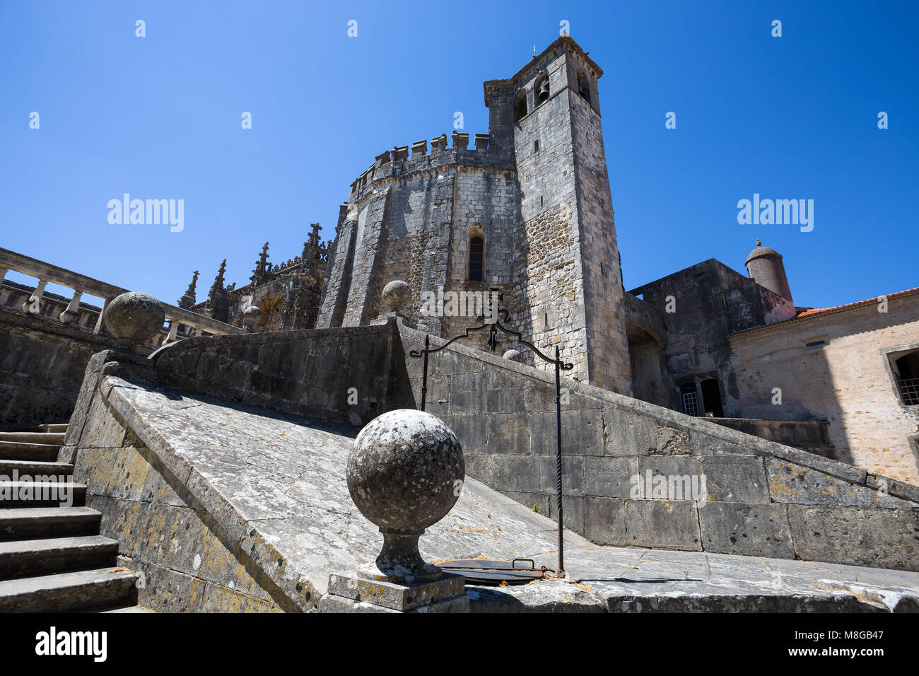 Tomar, Portugal - June 18, 2016: Top of Dom Joao III Cloister (Renaissance masterpiece) in the Templar Convent of - Stock Image