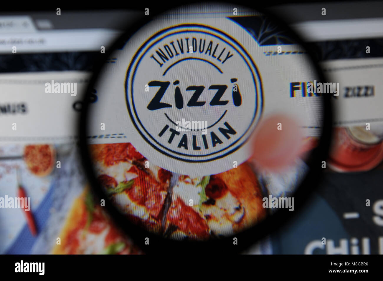 Zizzi restaurant homepage on a computer - Stock Image