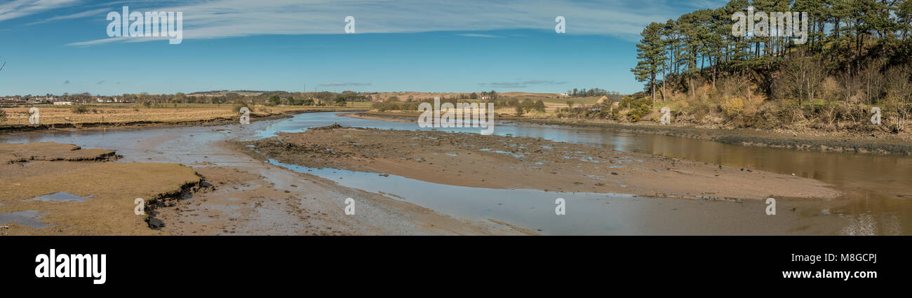 Northumberland Coast AONB Panorama, upstream north east to north west over the river Aln at Alnmouth - Stock Image