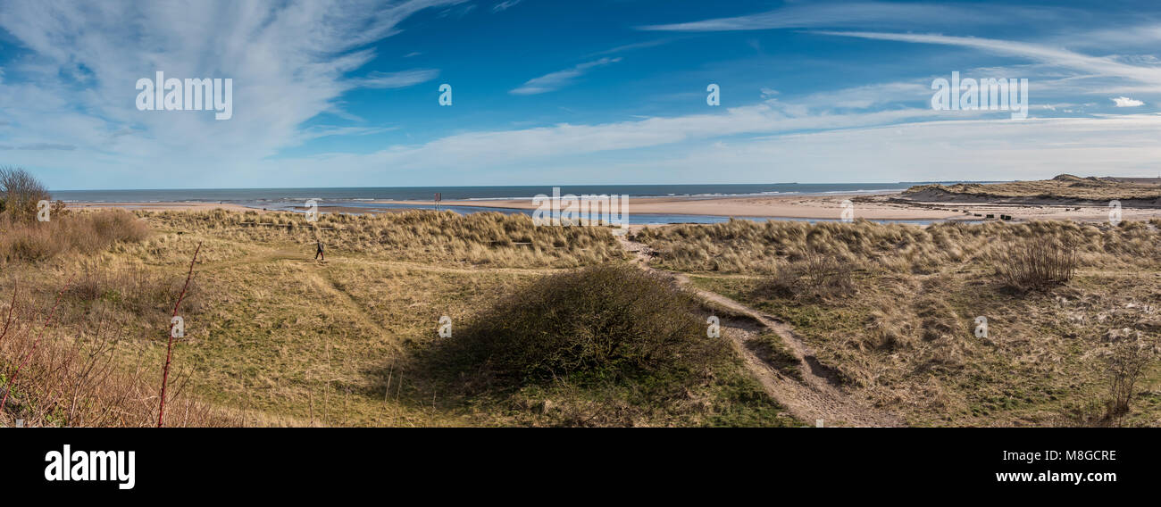 Northumberland Coast AONB Panorama, the river Aln estuary at Alnmouth - Stock Image