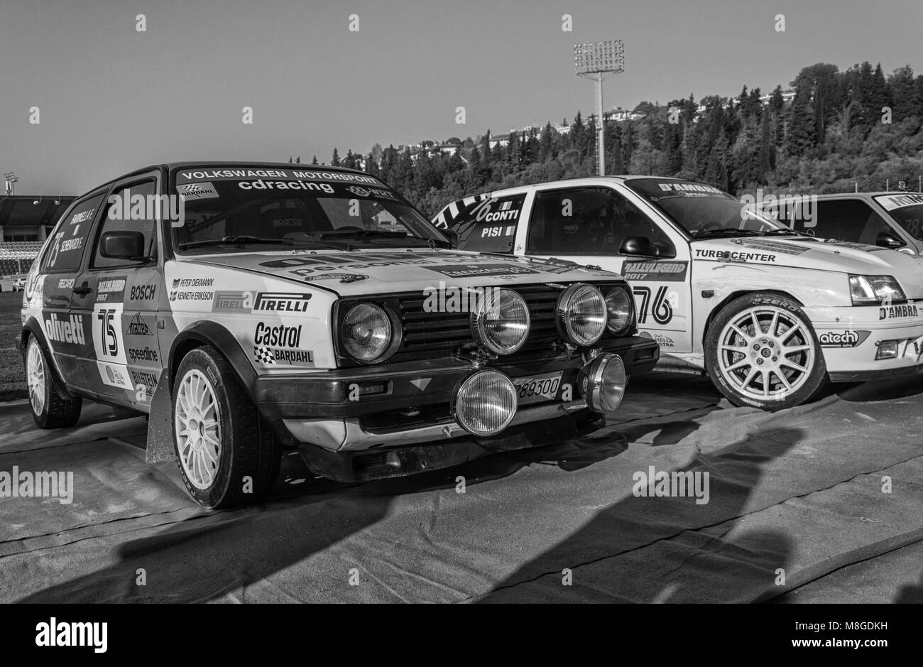 SANMARINO, SANMARINO - OTT 21, 2017 : VOLKSWAGEN GOLF GTI 16V 1987 in old racing car rally THE LEGEND 2017 the famous - Stock Image