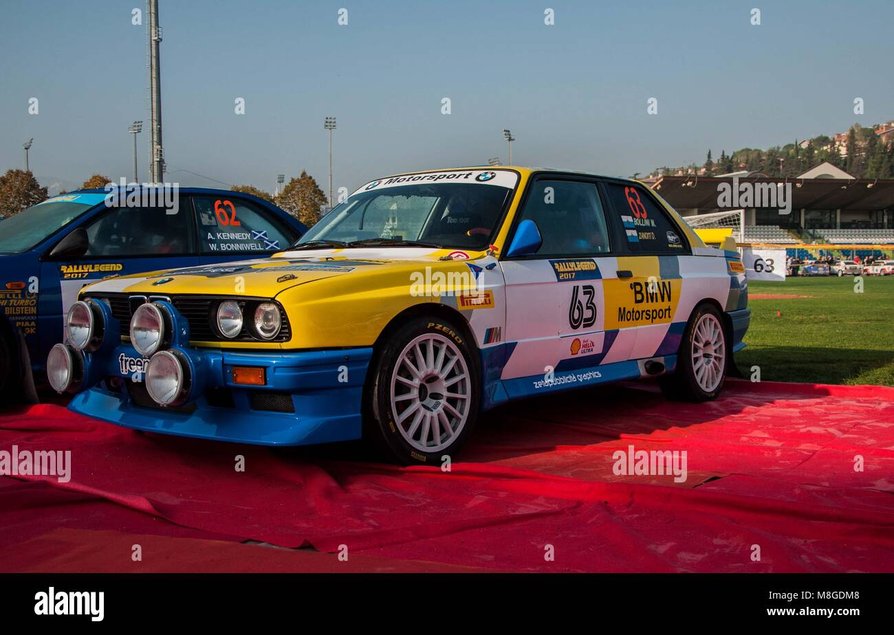 SANMARINO, SANMARINO - OTT 21, 2017 : BMW M3 E30 1988 in old racing car rally THE LEGEND 2017 the famous SAN MARINO - Stock Image