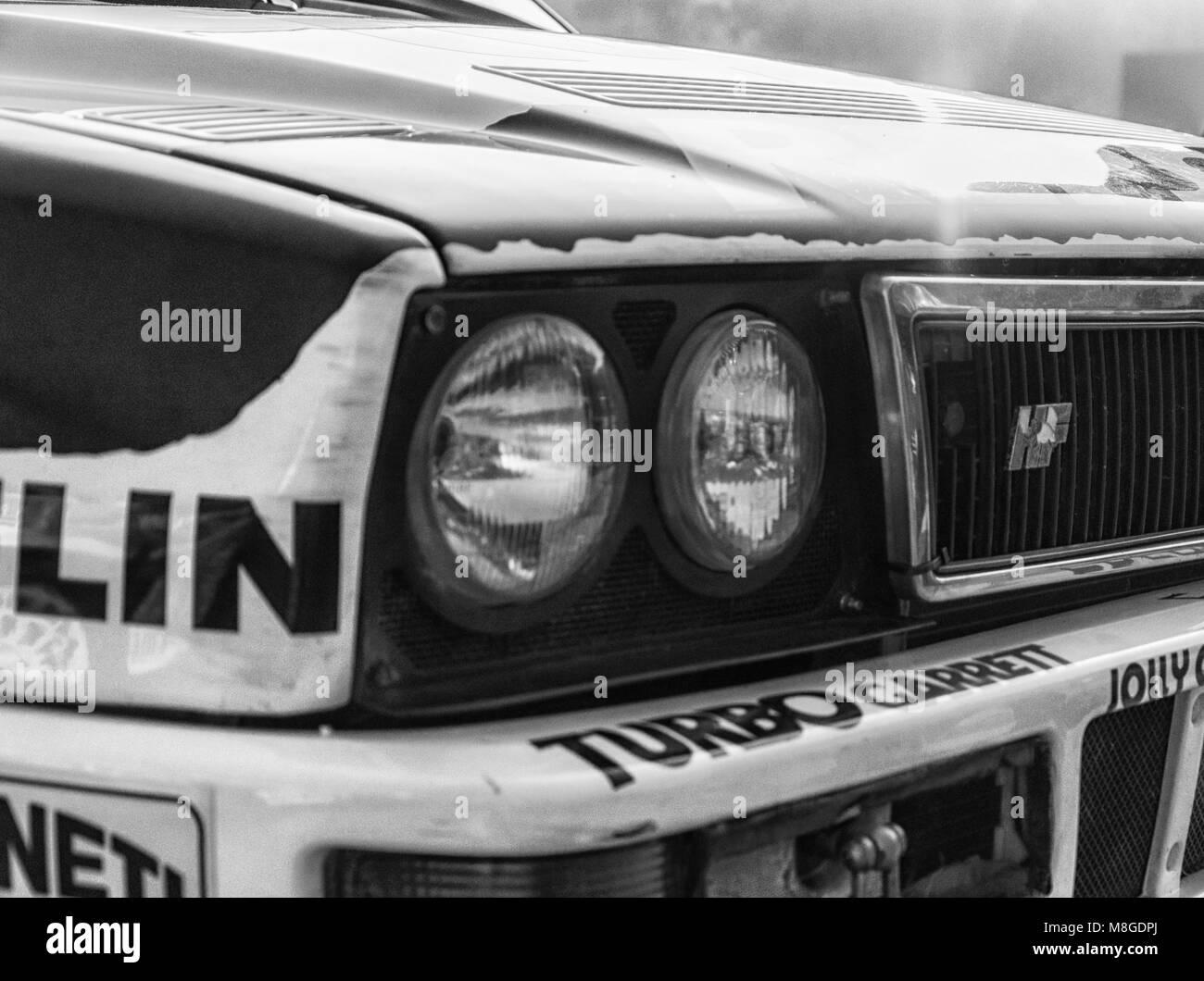 SANMARINO, SANMARINO - OTT 21, 2017 : LANCIA DELTA INT. 16V 1991 in old racing car rally THE LEGEND 2017 the famous - Stock Image