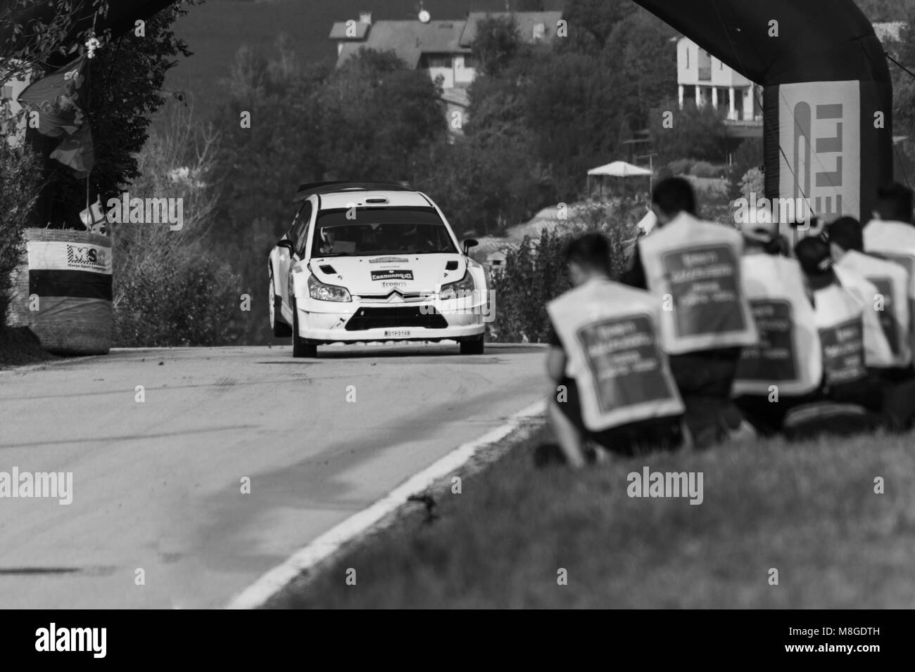 SANMARINO, SANMARINO - OCT 21, 2017 : CITROEN C4 WRC 2006 old racing car rally historical race - Stock Image