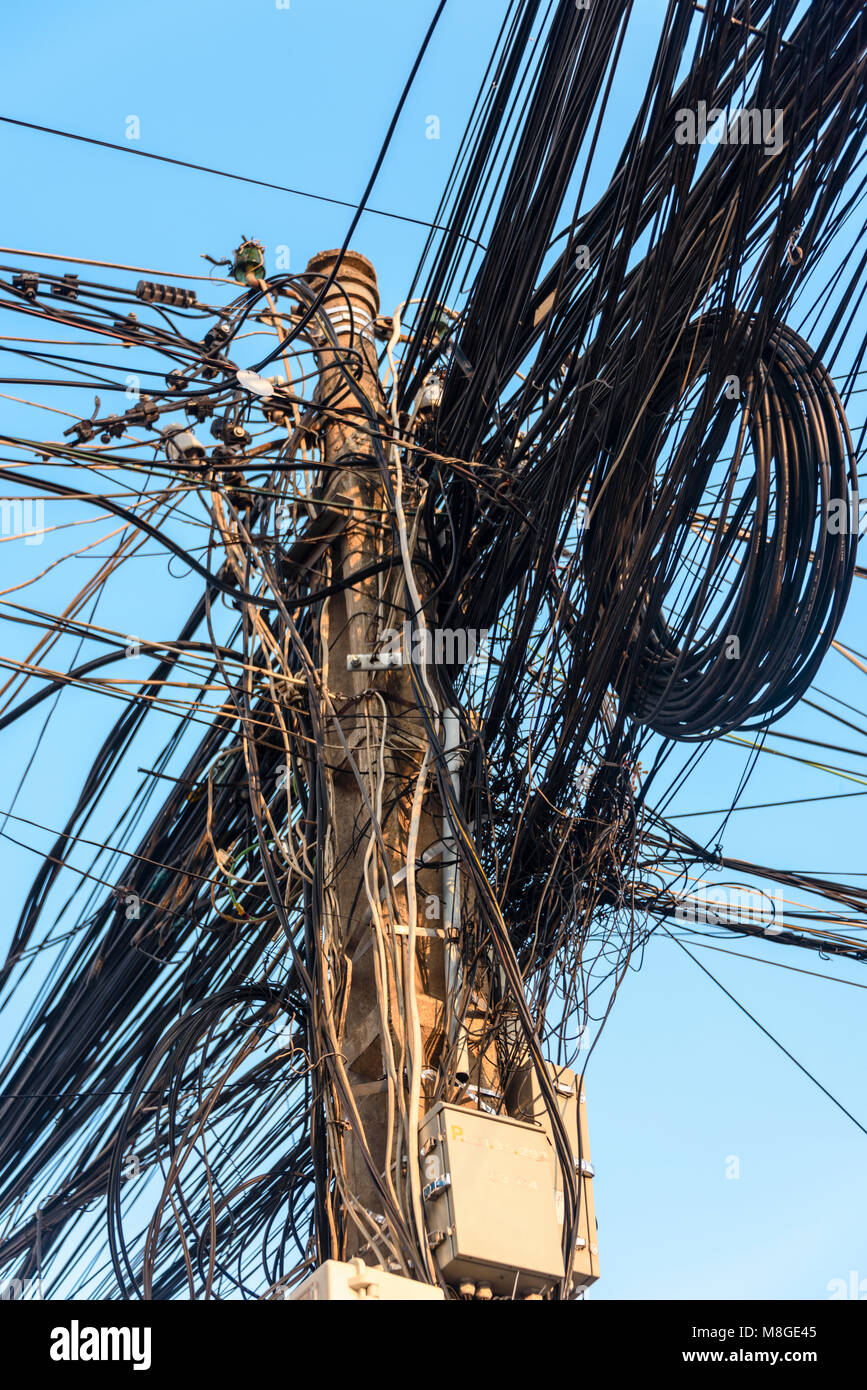 Messy Wires Stock Photos Images Alamy Wiring Electricity Pole With Dozens Of Dangerous Untidy Cables And Image