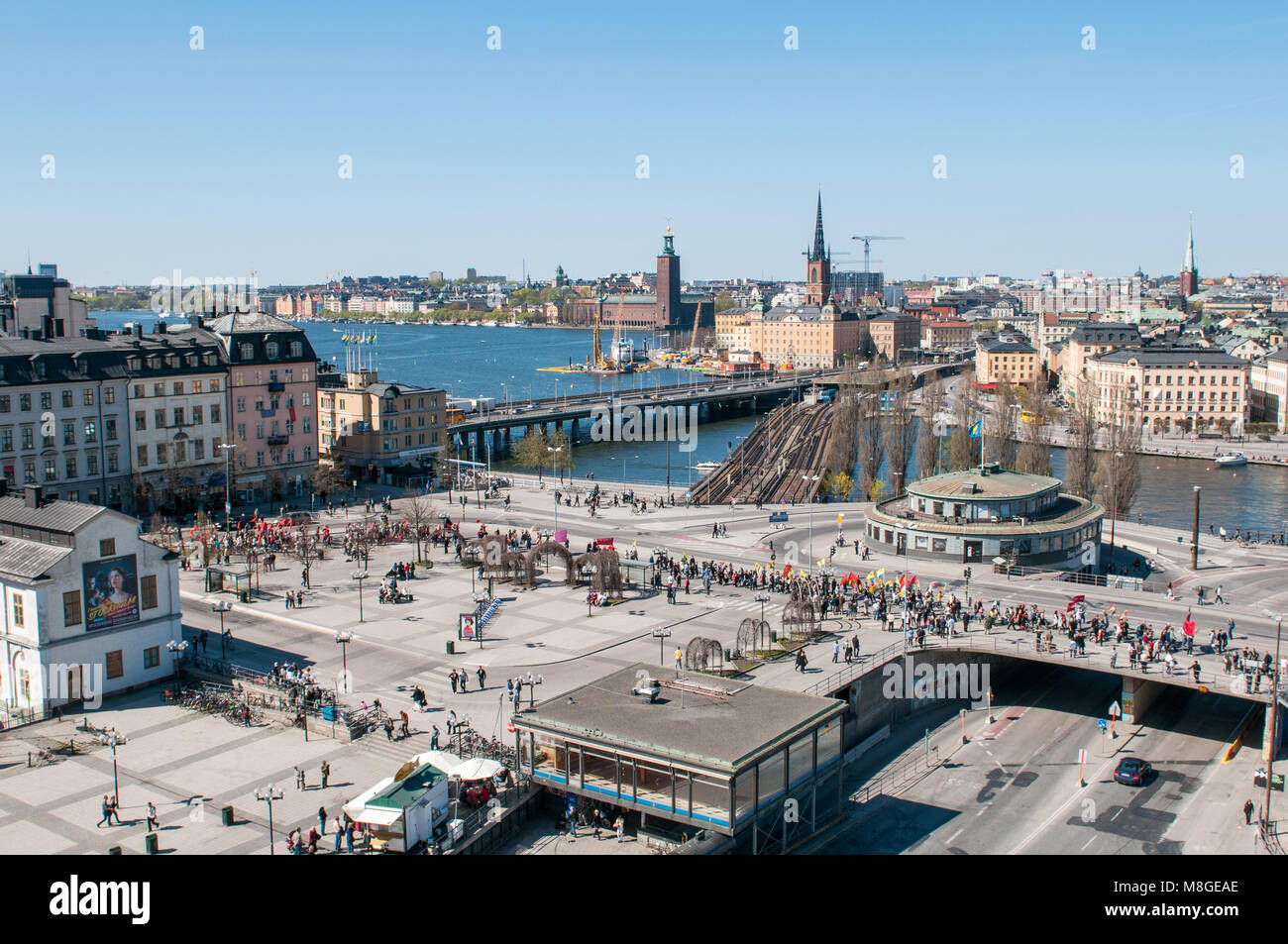 Aerial view from Katarina elevator during a demonstration at Slussen traffic hub on International Worker's day. - Stock Image