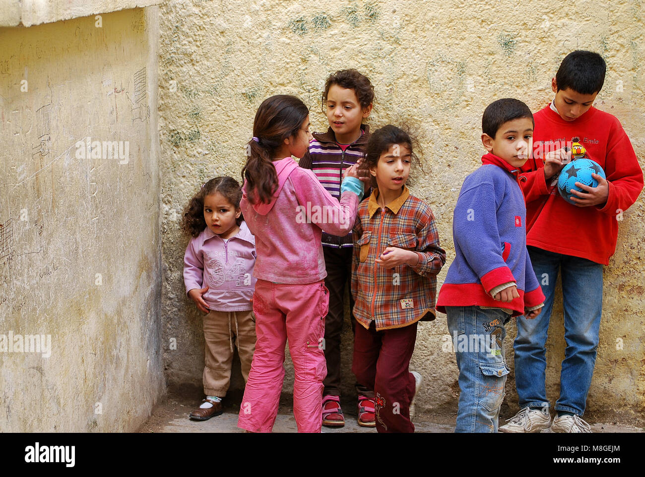 School-age children, Morocco. Most of them before enrolling in primary school spend a few years of pre-schooling - Stock Image