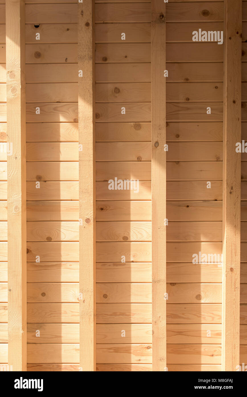 Part of new roof - planks and beams - Stock Image