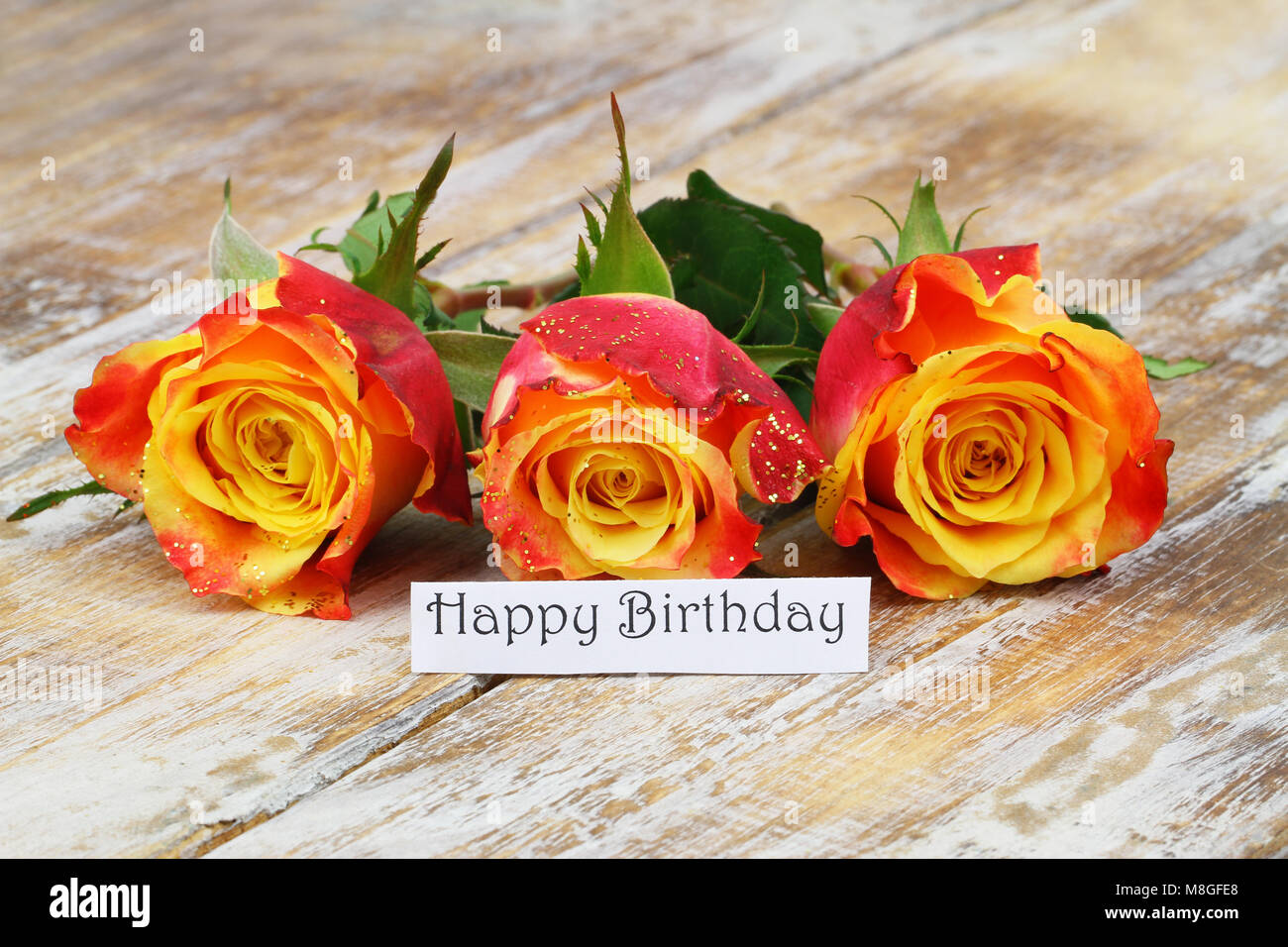 Happy Birthday Card With Three Red And Yellow Roses With Glitter On