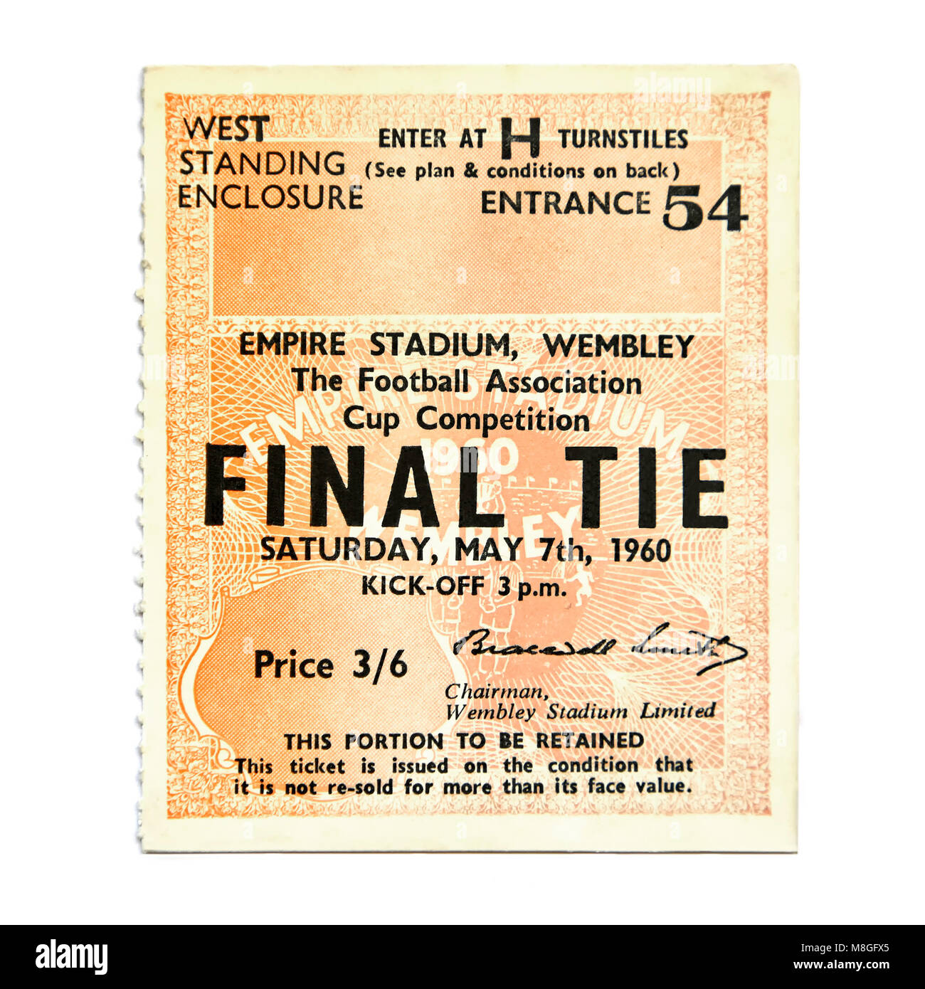 Value inflation & prices reflected in this old historical London football ticket stub with vintage 1960s price - Stock Image