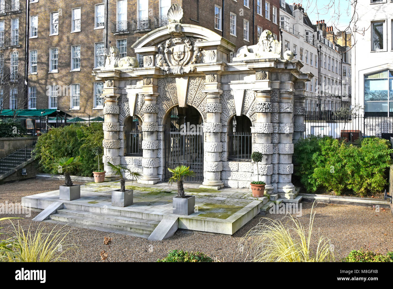 Winter view of the historical Italianate York Water Gate a Watergate that marks shoreline of River Thames before - Stock Image
