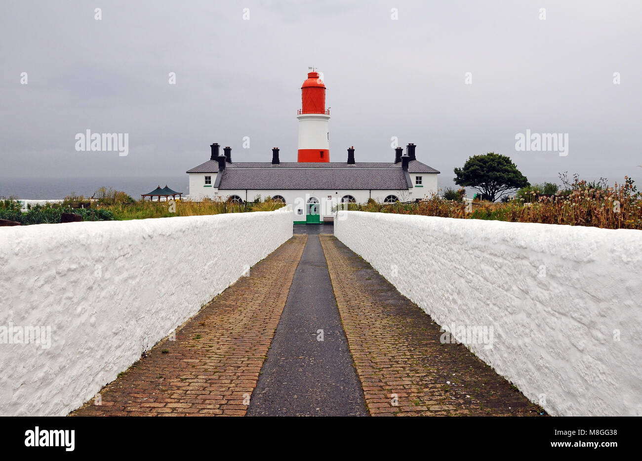 Souter Lighthouse (grid reference NZ408642) is a lighthouse located in the village of Marsden in South Shields, - Stock Image
