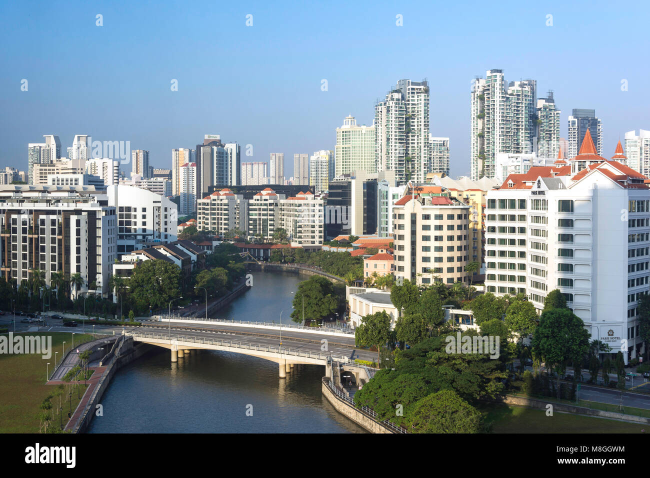 Singapore River and Downtown Core from Fort Canning at sunrise, Civic District, Singapore Island (Pulau Ujong), - Stock Image