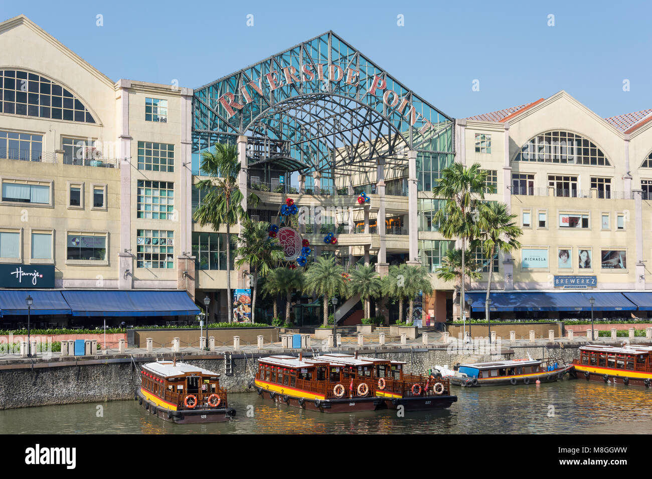 Riverside Point waterfront dining venue, Civic District, Central Area, Singapore Island (Pulau Ujong), Singapore - Stock Image