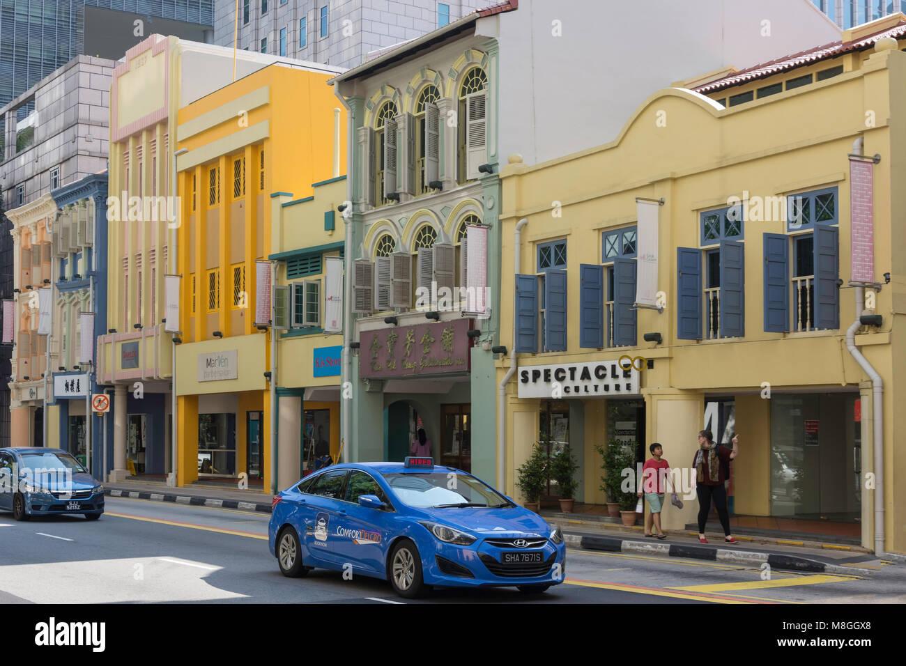 Shophouses on South Bridge Road, Chinatown, Outram District, Central Area, Singapore Island (Pulau Ujong), Singapore - Stock Image
