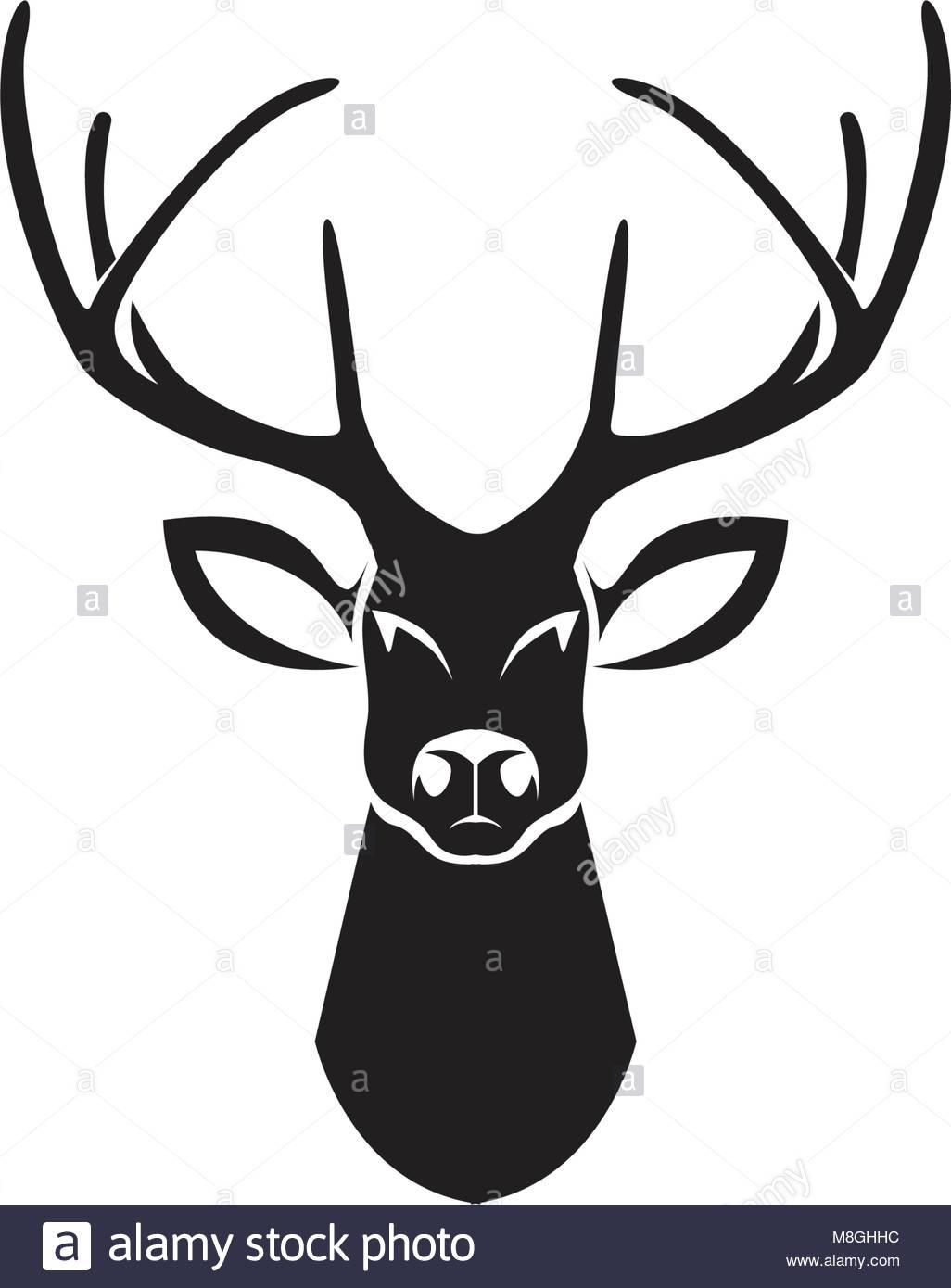head deer animals logo black silhouete icons stock vector art rh alamy com deer head logo for women's winter jackets browning deer head logo